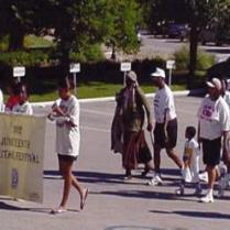 M. Waddy-Thibodeaux as Harriet Tubman marches in 2002 Juneteenth Celebration in Missouri.